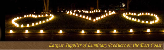 Heart shaped Luminaries covering a hillside